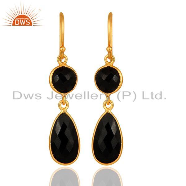 Bezel-Set Faceted Black Onyx Drop Earrings - 18K Gold Plated Sterling Silver