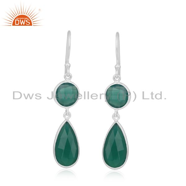 Green Onyx Gemstone Handmade 925 Silver Girls Earrings Wholesale