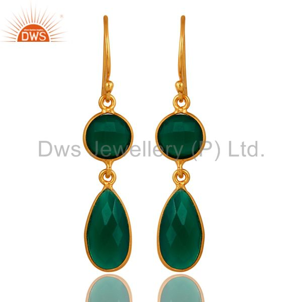 Faceted Green Onyx Gemstone Sterling Silver Double Drop Earrings - Gold Plated