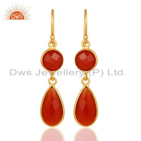 18K Gold Over Sterling Silver Faceted Red Onyx Gemstone Bezel-Set Drop Earrings