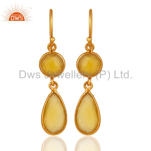 Faceted Yellow Chalcedony Gold Plated Sterling Silver Ladies Dangle Earrings
