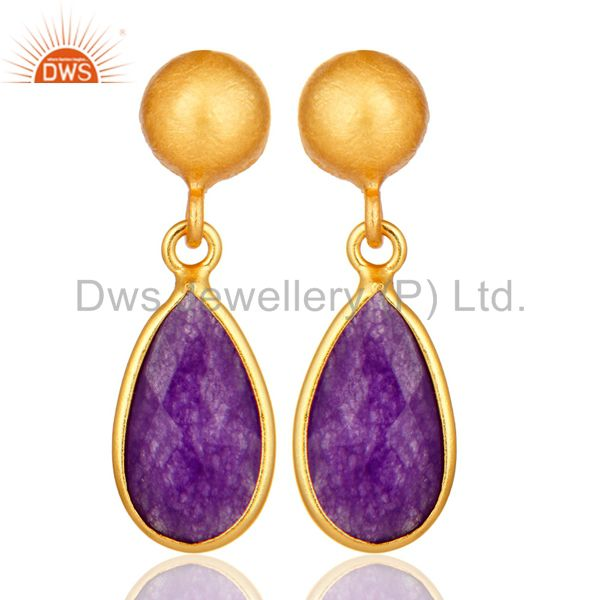 Purple Chalcedony Sterling Silver Drop Earrings With Yellow Gold Plated