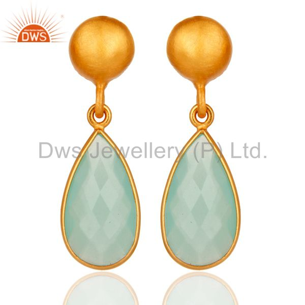 Faceted Blue Chalcedony Gemstone Gold Plated Sterling Silver Drop Earrings