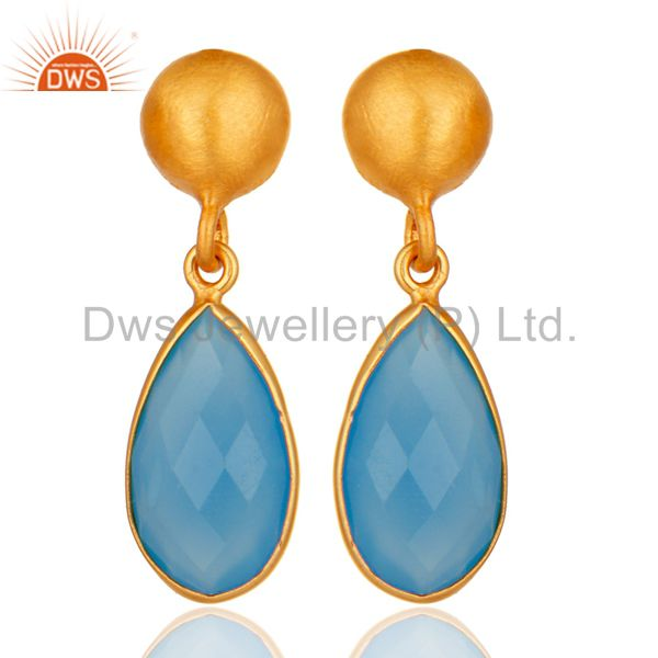 18K Gold Plated Sterling Silver Faceted Blue Chalcedony Gemstone Drop Earrings