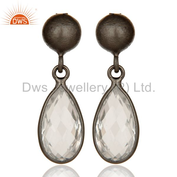Oxidized Solid Sterling Silver Crystal Quartz Gemstone Bezel Set Drop Earrings