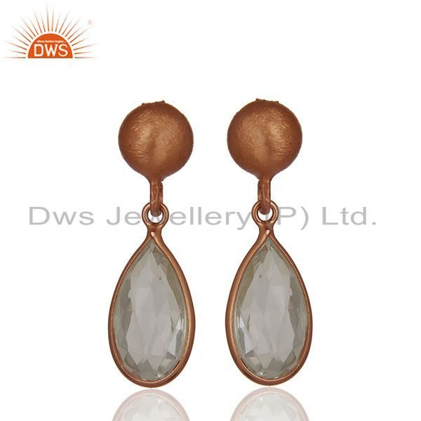 Handmade Rose Gold Plated 925 Silver Crystal Earring Jewelry Wholesale