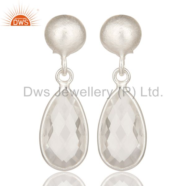 925 Sterling Silver Crystal Quartz Gemstone Bezel Set Teardrop Earrings