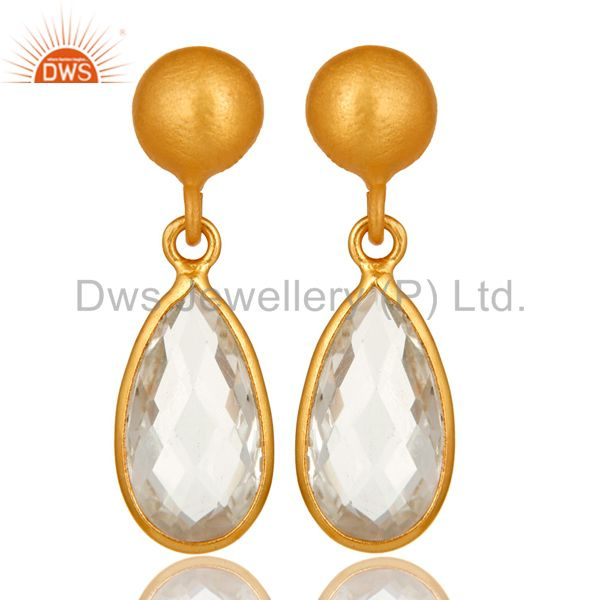 14K Yellow Gold Plated Sterling Silver Crystal Quartz Bezel Set Teardrop Earring