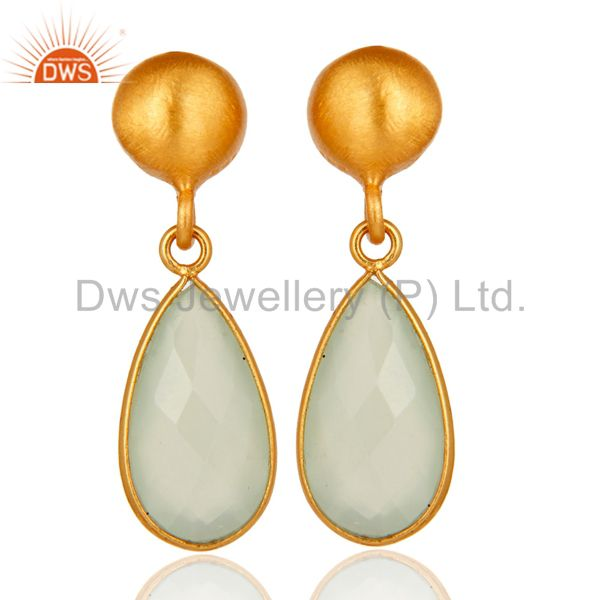 Gold Plated Sterling Silver Faceted Green Chalcedony Teardrop Bezel Set Earring