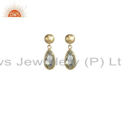 18K Gold Plated Sterling Silver Lemon Topaz Bezel Set Drop Earrings
