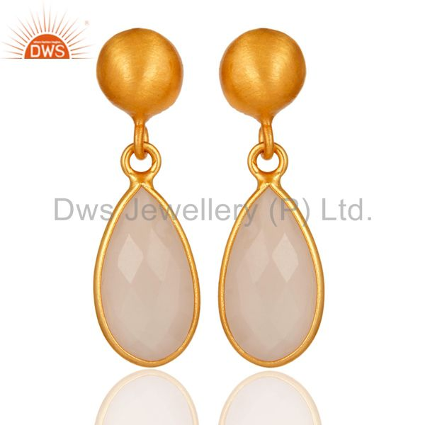 Faceted Dyed Rose Chalcedony Gemstone 24K Gold Plated Sterling Silver Earrings