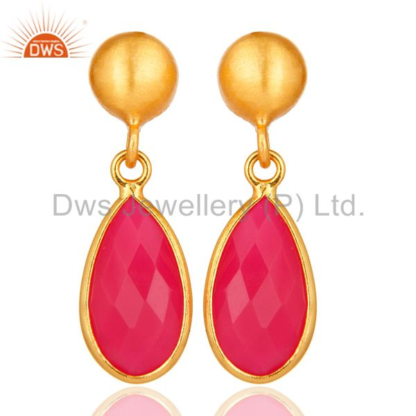Faceted Pink Chalcedony Drop Earrings In 18K Gold Over Sterling Silver