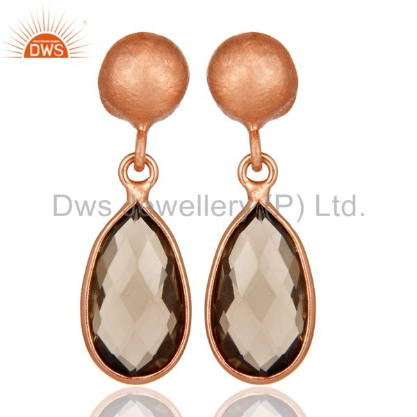 18K Rose Gold Plated Sterling Silver Smoky Quartz Gemstone Drop Dangle Earrings