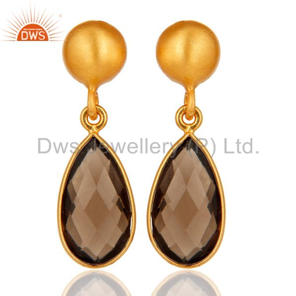 Faceted Natural Smoky Quartz Plated Gold Bezel Set Sterling Silver Drop Earring