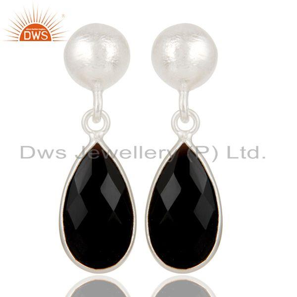 Black Onyx Gemstone 925 Silver Dangle Earring Manufacturer of Jewelry
