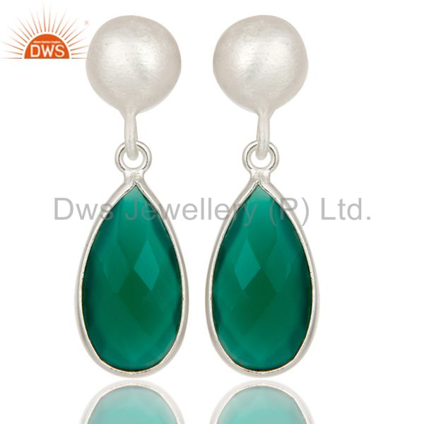 Solid Sterling Silver Green Onyx Gemstone Bezel Set Teardrop Earrings