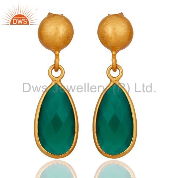 24K Gold Plated Sterling Silver Faceted Green Onyx Gemstone Drop Earrings