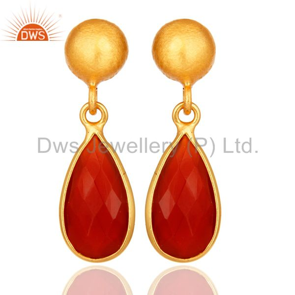 Natural Red Onyx Gold Plated Sterling Silver Drop Earrings