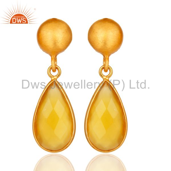 Faceted Yellow Moonstone Pear Shaped Gold Plated Sterling Silver Drop Earrings