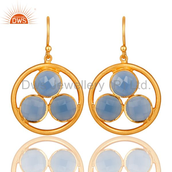 Handmade 18k Gold Plated Silver Blue Chalcedony Gemstone Circle Dangle Earrings