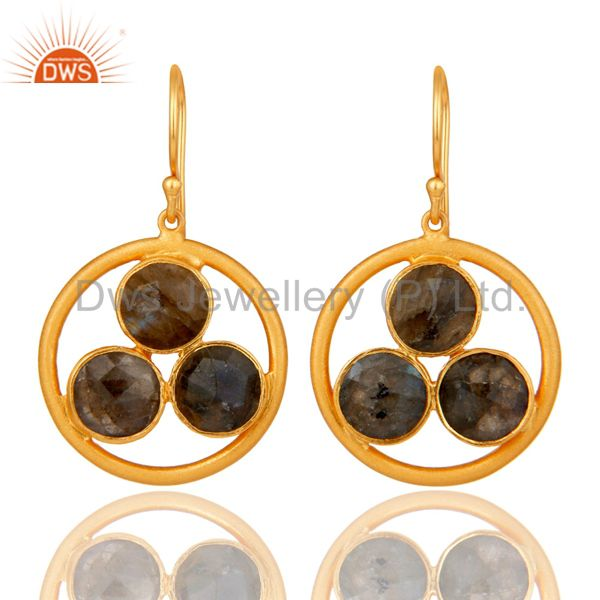 18k Gold Plated 925 Silver Labradorite Gemstone Circle Dangle Handmade Earrings