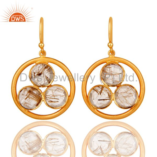 18k Gold Plated Sterling Silver Yellow Rutile Gemstone Circle Dangle Earrings