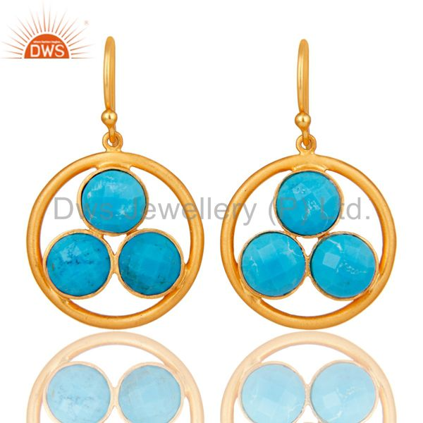 18k Yellow Gold Plated Solid Silver Turquoise Gemstone Circle Dangle Earrings
