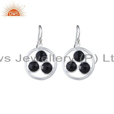 Handmade Solid Sterling Silver Black Onyx Gemstone Circle Dangle Earrings
