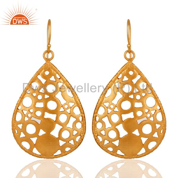 24K Yellow Gold Plated Brass Filigree Designer Drop Dangle Earrings For Womens