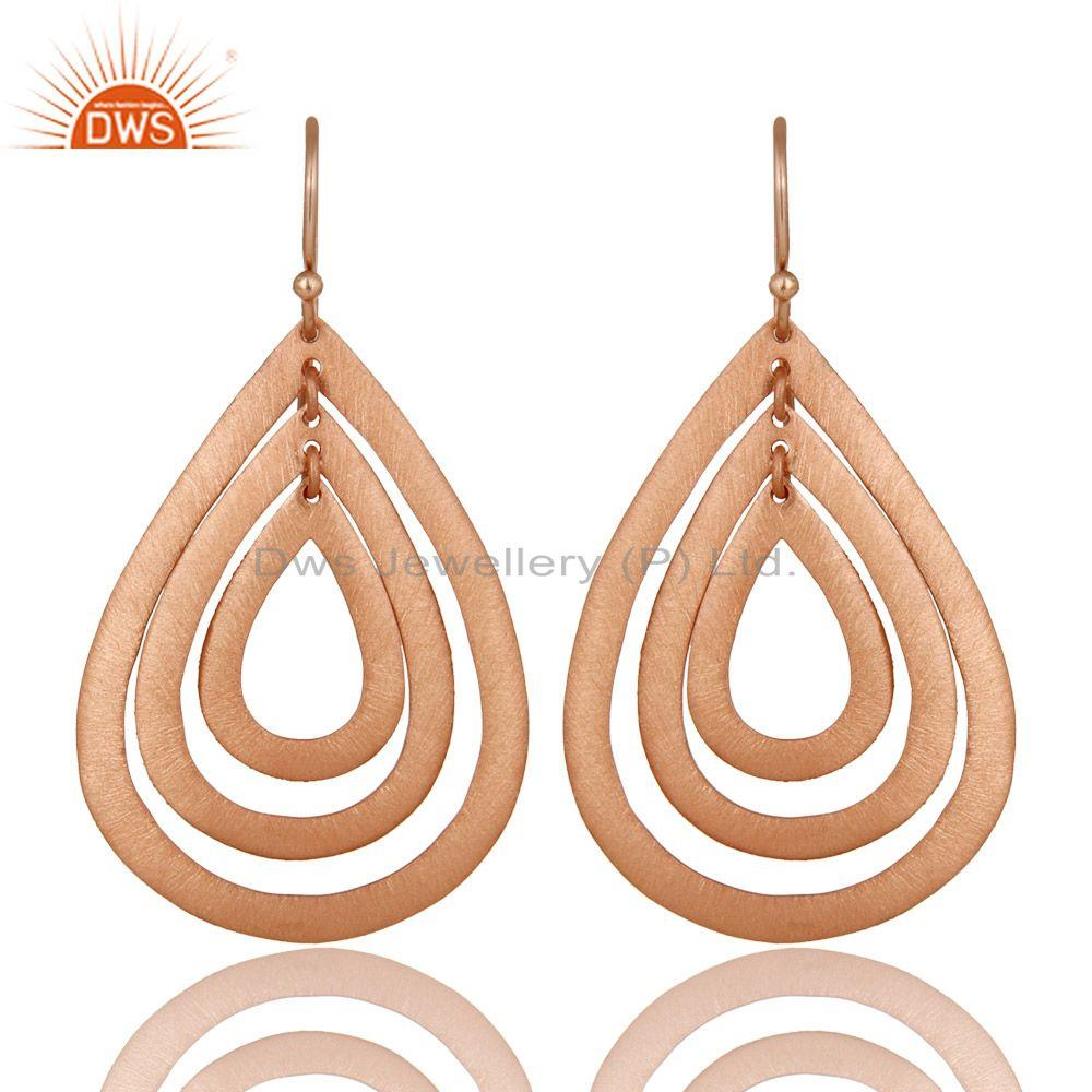 14K Rose Gold Plated Sterling Silver Brushed Finish Multi Drop Dangle Earrings