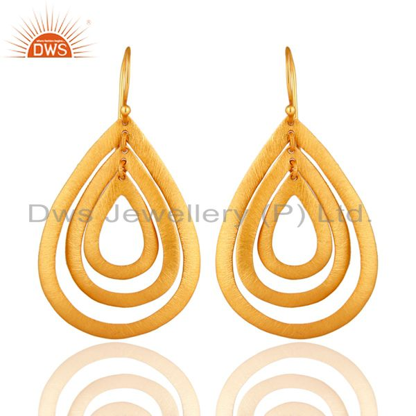 18K Yellow Gold Plated Sterling Silver Brushed Multi-Circle Drop Earrings