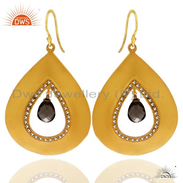 22K Yellow Gold Plated Sterling Silver Smoky Quartz Drop Earrings With CZ