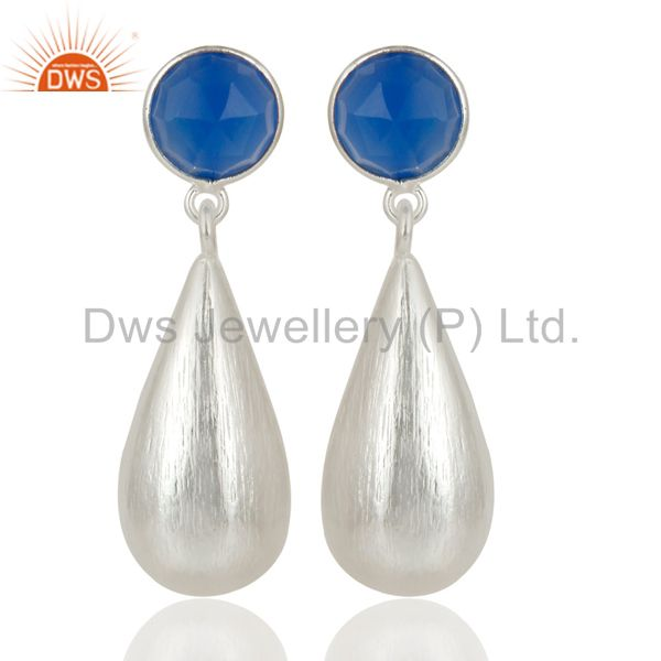 Dyed Blue Chalcedony Solid 925 Sterling Silver Bezel Set TearDrops Earrings