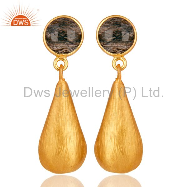 Tourmulated Quartz 22K Yellow Gold Plated Sterling Silver Teardrop Earrings