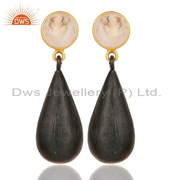 22K Gold Plated & Black Oxidized 925 Sterling Silver Moonstone Teardrop Earrings