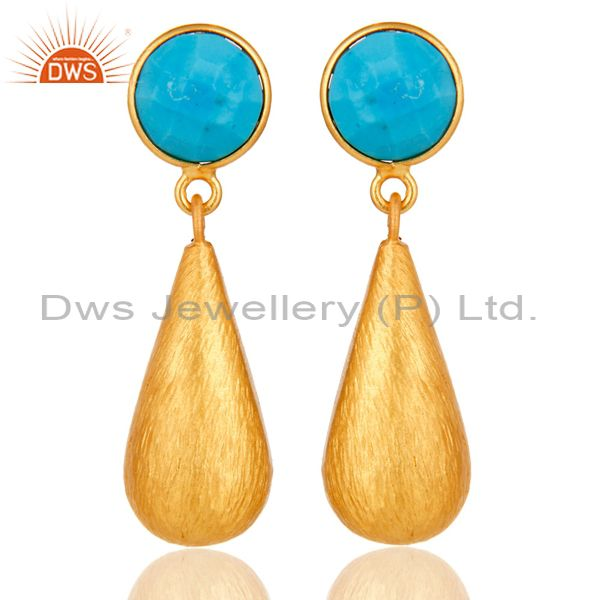 22K Yellow Gold Plated Sterling Silver Turquoise Gemstone Teardrop Earrings