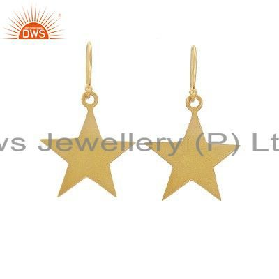 18K Yellow Gold Plated Sterling Silver Star Design Dangle Earrings