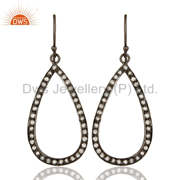 Black Rhodium Plated Sterling Silver White Topaz Drop / Dangle Hook Earrings