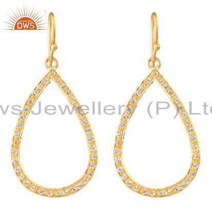 18K Yellow Gold Plated Sterling Silver Cubic Zirconia Dangle Earrings