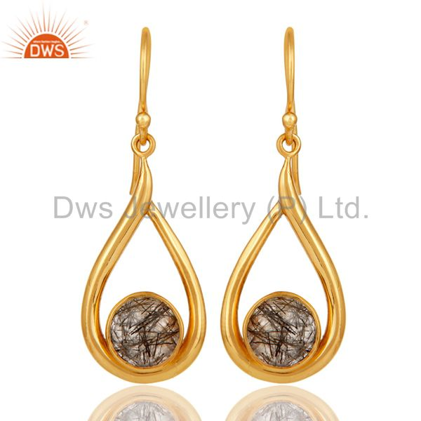 18k Yellow Gold Plated Tourmulated Quartz Gemstone Sterling Silver  Earring