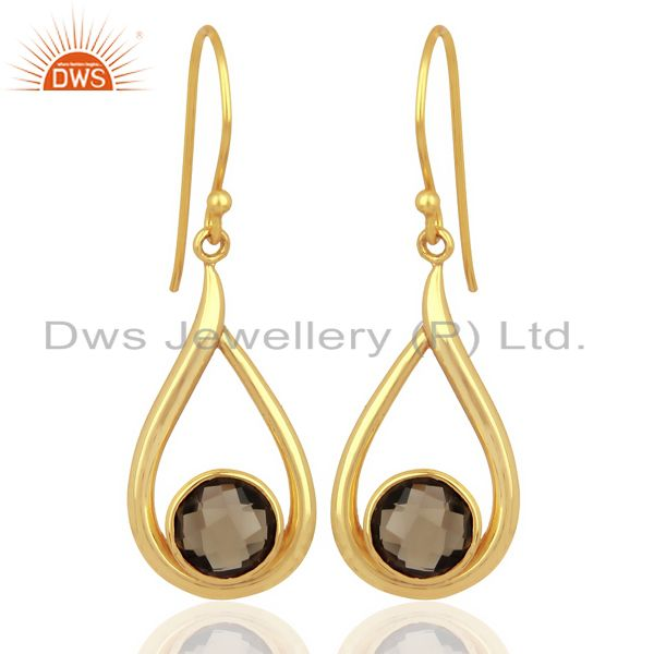 Smoky Topaz Drop Shape Round Briolet Gold Plated 92.5 Sterlign Silver Earring