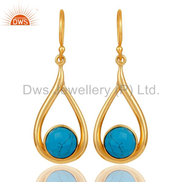 18k Yellow Gold Plated Sterling Silver Turquoise Drop Dangle Earring
