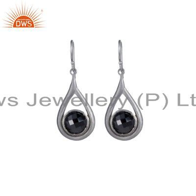 Sterling Silver Black Onyx Dangle Drop Earring Handmade Earring
