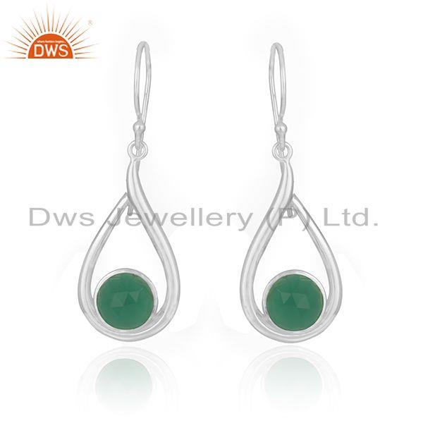 Green Onyx Gemstone Fine 925 Sterling Silver Earring Manufacturer