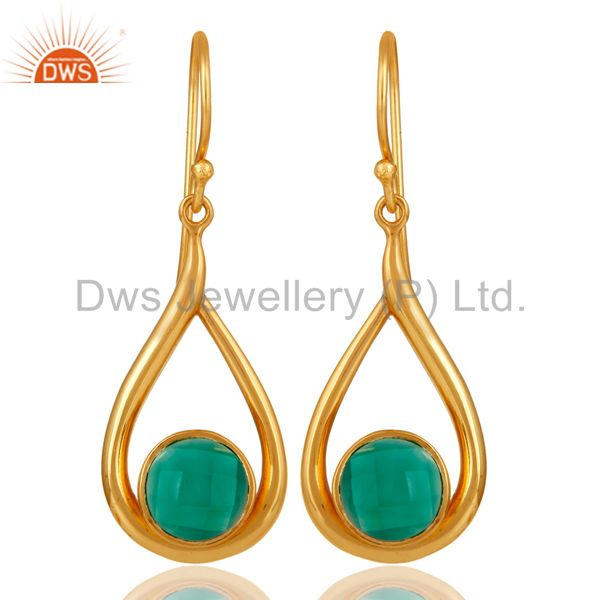 18k Yellow Gold Plated Green Onyx Sterling Silver Earring