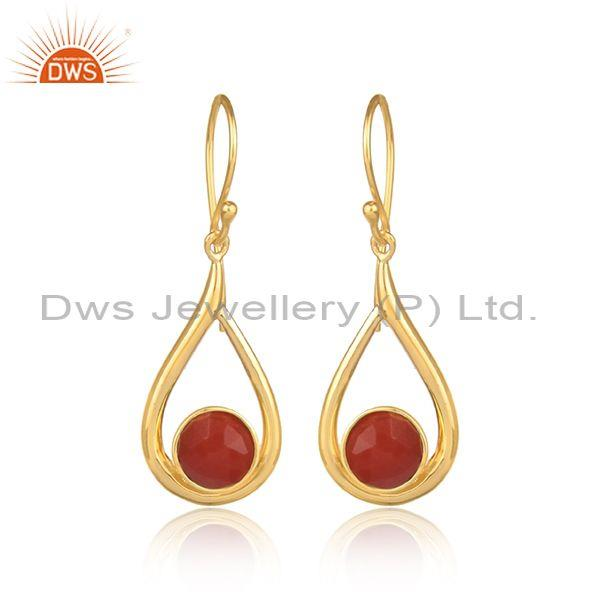 Red onyx set gold on 925 sterling silver tear drop earrings