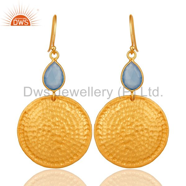 22K Gold Plated Sterling Silver Blue Chalcedony Hammered Disc Dangle Earrings
