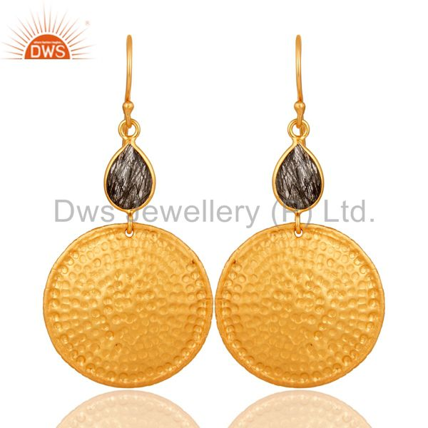 22K Gold Plated Sterling Silver Black Rutile Hammered Disc Dangle Earrings
