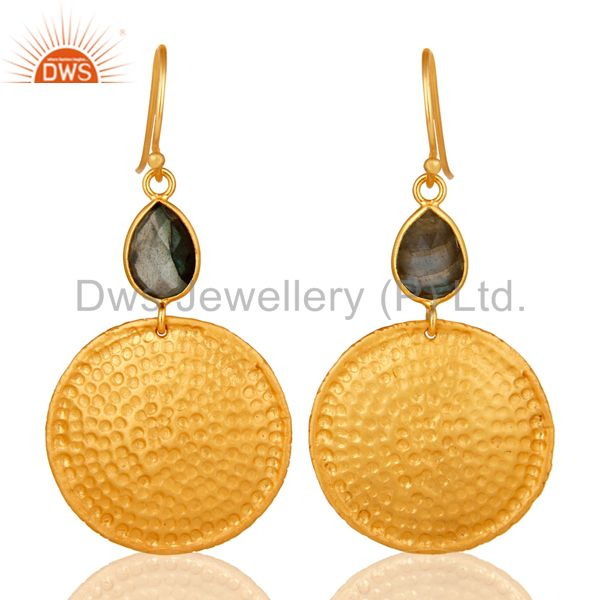 22K Gold Plated Sterling Silver Hammered Disc Dangle Earrings With Labradorite