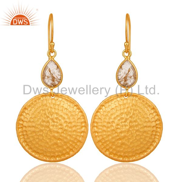 22K Gold Plated Sterling Silver Yellow Rutile Hammered Disc Dangle Earrings
